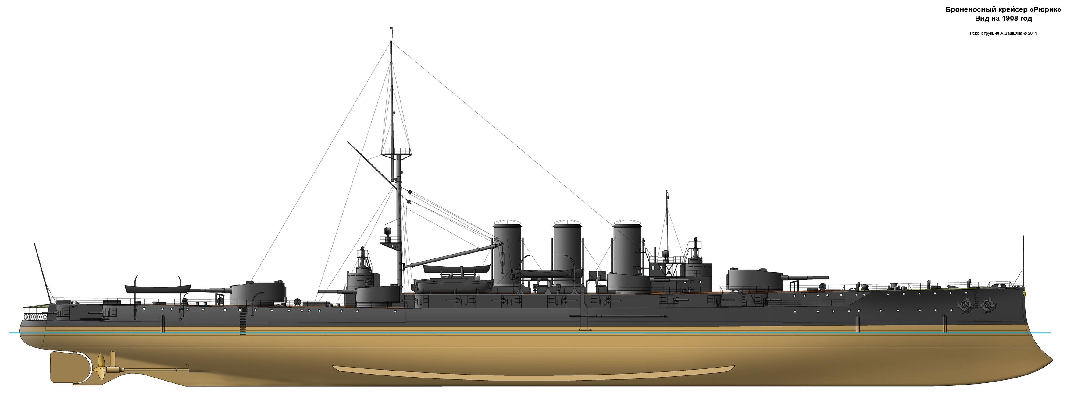 И схемы броненосного крейсера рюрик